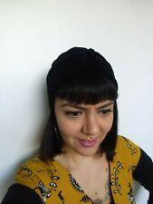 Bonnet original turban stretch velours noir doux épais pinup rétro glamour
