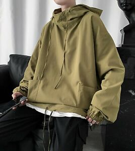 NWT Mens Military Green Oversized Pullover Hooded Tunic Jacket Hoodie