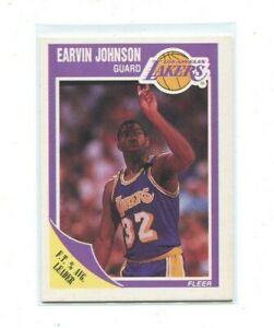 MAGIC JOHNSON LOS ANGELES LAKERS 1989-90 FLEER #77 NBA BASKETBALL CARD