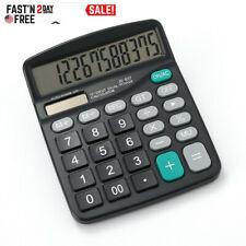 US Desktop Calculator Solar Battery Basic 12-Digit Large Display Office Business