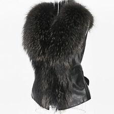 NEW Women Faux Fur Vest Jacket Coat Casual Winter Warm Waistcoat PU Leather H