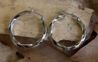 Polished 30mm Twisted Hoop Earrings Fine Sterling Silver New Jewelry Free Post