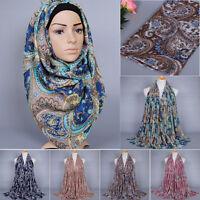 Muslim Long Scarf Hijab Islamic Shawls Arab Headwear Shayla Paisley Pattern