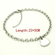 Woman Ankle Bracelet Stainless Steel Anklets Heart Charm 9-11 Inches