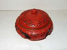 SMALL CHINESE FLORAL CARVED CINNABAR LACQUER ENAMEL BOWL JAR BOX