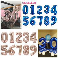 """32"""" Navy Pink Digital Number Balloons Large Big Foil Mylar For Birthday Party"""