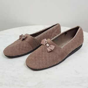 [ HOMYPED ] Womens Brown Comfort Slippers w/ bow detail - As new   Size 10