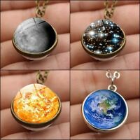 Double Sided Solar System Necklace Planet Pendant Galaxy Ball Long Chain Jewelry