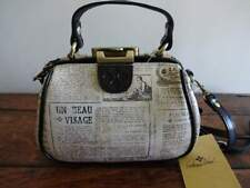 PATRICIA NASH Antica French NEWSPAPER Print LEATHER Small SATCHEL CROSSBODY BAG