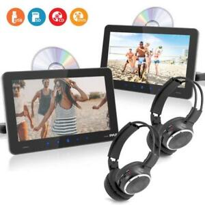 Pyle Touchscreen CD/DVD Player Bundle Kit-Dual Vehicle Headrest Mount Multimedia