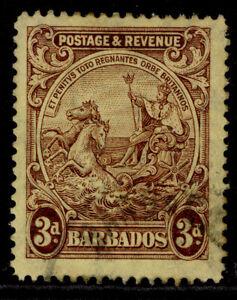 BARBADOS GV SG234a, 3d reddish purple/yellow, FINE USED.