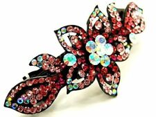 New Pink Austrian Crystal Orchid Flower Black Hair Clip Wedding Prom Party