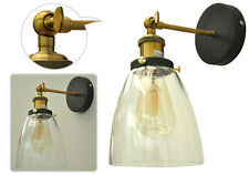 Stile industriale Vetro Chiaro loft lampada parete ottone antico vintage SCONCE Light