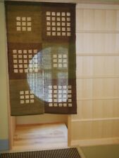 Kyoto Check Noren Door curtain Roketsu Dye Brown and Beige 88x150 Japan