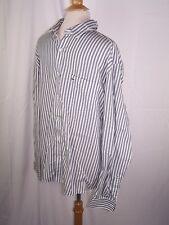 LACOSTE Vintage cotton l/s Button shirt Slim Fit Green White Stripe sz 44