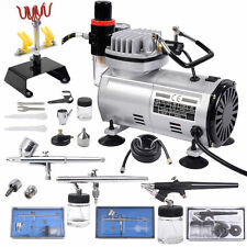 3 Airbrush & Compressor Kit Dual-Action Spray Air Brush Set Tattoo Nail Art Kit