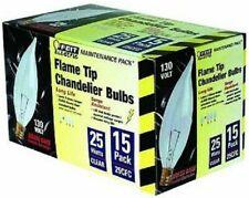 (15) NEW 25-Watt Flame Tip Light Bulb with Chandelier Candelabra Base