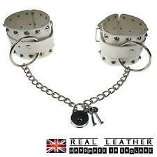 Anello CONICO bianco catena e borchie fatto a mano 100% Vera Pelle Manette Made in UK