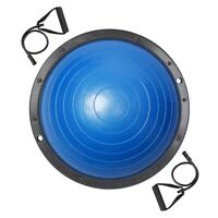 "23"" Yoga Half Ball Exercise Trainer Fitness Balance Strength Gym w/Pump Blue"
