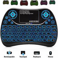 2.4GHz RF Wireless Mini Keyboard with Touchpad Mouse Combo, Rechargable & Light