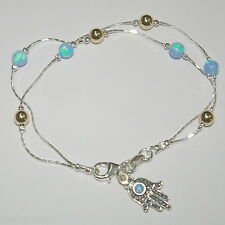 Sterling Silver 925 5mm Light Blue OPAL and GOLD FILLED Beads ANKLET with Hamsa