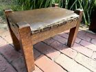 Antique Wooden Arts & Crafts Mission Oak FOOT STOOL Ottoman Solid Heavy