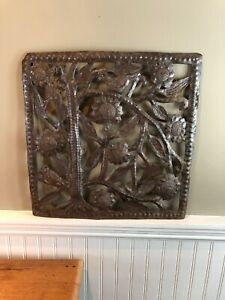 "Hand Made Birds Flowers Iron Metal Wall Plaque Signed 15"" Square"