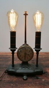 """Antique Wrought Iron Footed Table Lamp With Clock W 10.5"""" x D 5.5"""" x H 14.5"""""""