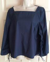 H HALSTON Navy Square Neck Drawstring 3/4 Sleeve Women's Blouse Top ~ Size XL