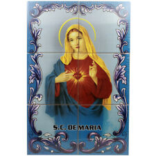 Sacred Heart of Mary Portuguese Ceramic Tile Art Wall Panel Mural Decor