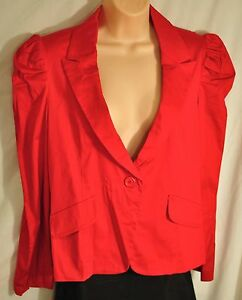 women's Courtenay bright red blazer size 6 collar lapel 1 button zipper back