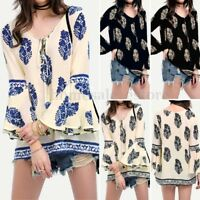 Women Long Bell Sleeve Floral Print Casual Blouse Shirt V Neck Summer Party Tops