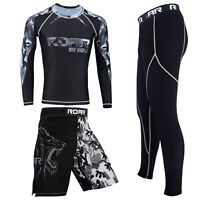 ROAR No Gi Wear BJJ Grappling MMA Rash Guard IBJJF Fight Training Shorts UFC Set