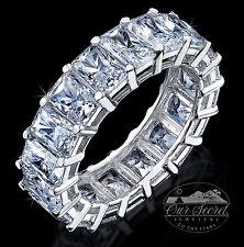 8 ct Briliant Radiant Eternity Ring Top CZ Imitation Moissanite Simulant SS Sz 4