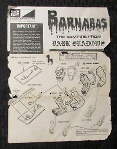 Vintage BARNABAS Vampire Dark Shadows MPC Model Kit INSTRUCTIONS ONLY GD+ 2.5