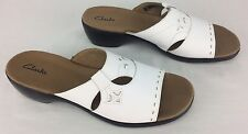 "Women's ""Clarks"" Sz 10 M White Cut Inlay Leather Slip On Sandal Wedge 2"" Heel"