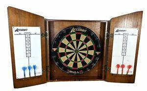 Accudart Dart Board & Wood Cabinet 6 Darts Dartboard Master theme New in Box