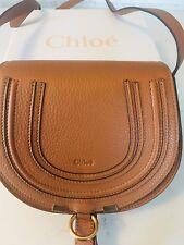 Authentic CHLOE Tan Calfskin Mini MARCIE Round Crossbody Purse Handbag