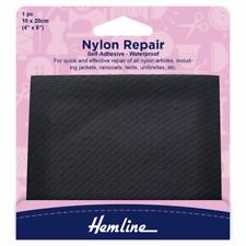 Hemline Waterproof Nylon Self Adhesive Repair Patch Black 10 X 20cm