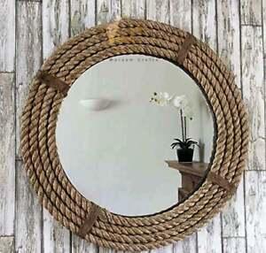Nautical Coastal Round Jute Rope Large Hanging Wall Mirror Mdf Wood Home Decor