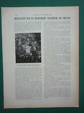 9/1923 ARTICLE 1 PAGE INAUGURATION DU MONUMENT CAUDRON LE CROTOY SQUARE GARE
