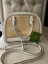 KATE SPADE Reiley STRAW WHITE LEATHER Large Dome SATCHEL NEW WITHOUT TAGS