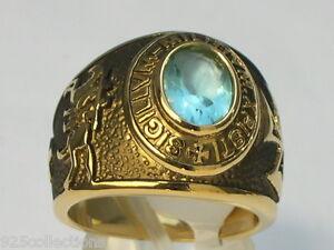 9x7 mm Knights Templar Masonic Mason March Stone Aqua Marine Men Ring Size 9