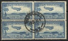 NEW ZEALAND SG572 1935 6d BLUE USED BLOCK OF 4