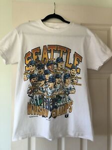 1995 Division Champs Seattle Mariners T Shirt Medium Vintage
