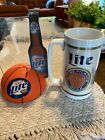 2 Miller Lite Table Top Plastic Ad Sign And 4 Plastic Beer Stein.