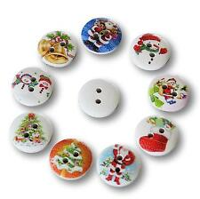 10 Wooden Multicoloured White Christmas Mix Buttons - 15mm
