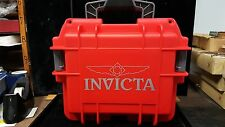 Invicta Waterproof 3 Slot Travel Collectors Watch Case,RED/Grey