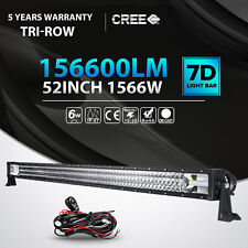 "7D TRI ROW 52""INCH 1566W LED LIGHT BAR SPOT FLOOD OFFROAD DRIVING TRUCK ATV 54"""