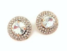 CLIP ON Stud Earrings in Gold Tone Halo Style Round Cluster design